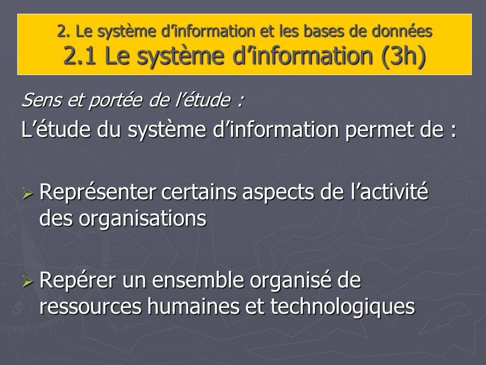 2. Le système dinformation et les bases de données 2.1 Le système dinformation (3h) Sens et portée de létude : Létude du système dinformation permet d
