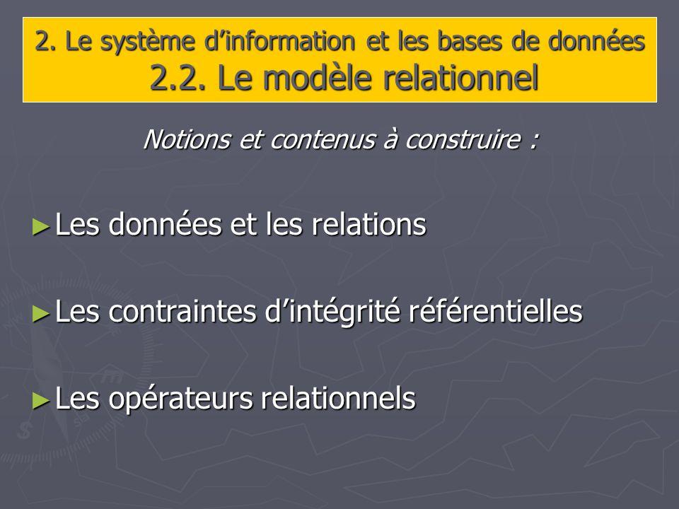 2. Le système dinformation et les bases de données 2.2.