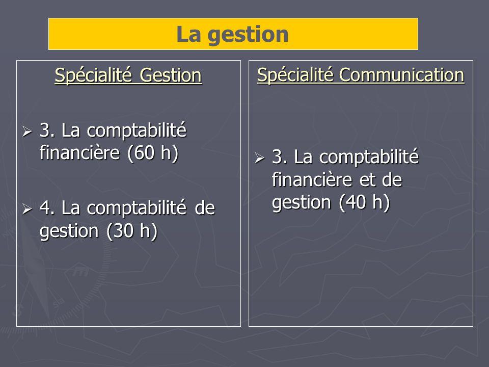 Spécialité Gestion 3. La comptabilité financière (60 h) 3.