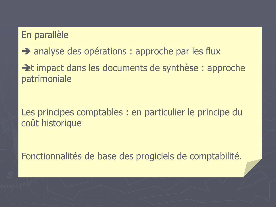 En parallèle analyse des opérations : approche par les flux et impact dans les documents de synthèse : approche patrimoniale Les principes comptables : en particulier le principe du coût historique Fonctionnalités de base des progiciels de comptabilité.