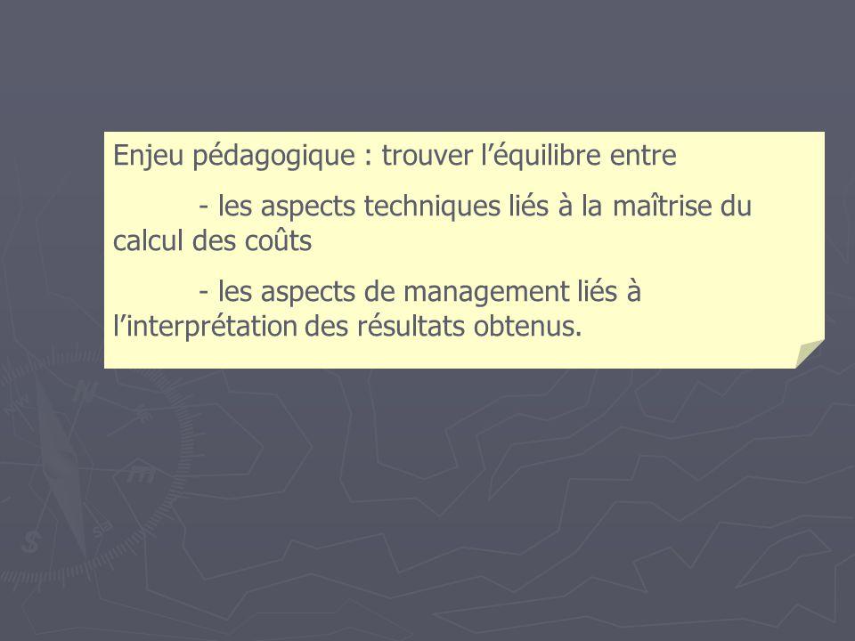 Enjeu pédagogique : trouver léquilibre entre - les aspects techniques liés à la maîtrise du calcul des coûts - les aspects de management liés à linterprétation des résultats obtenus.
