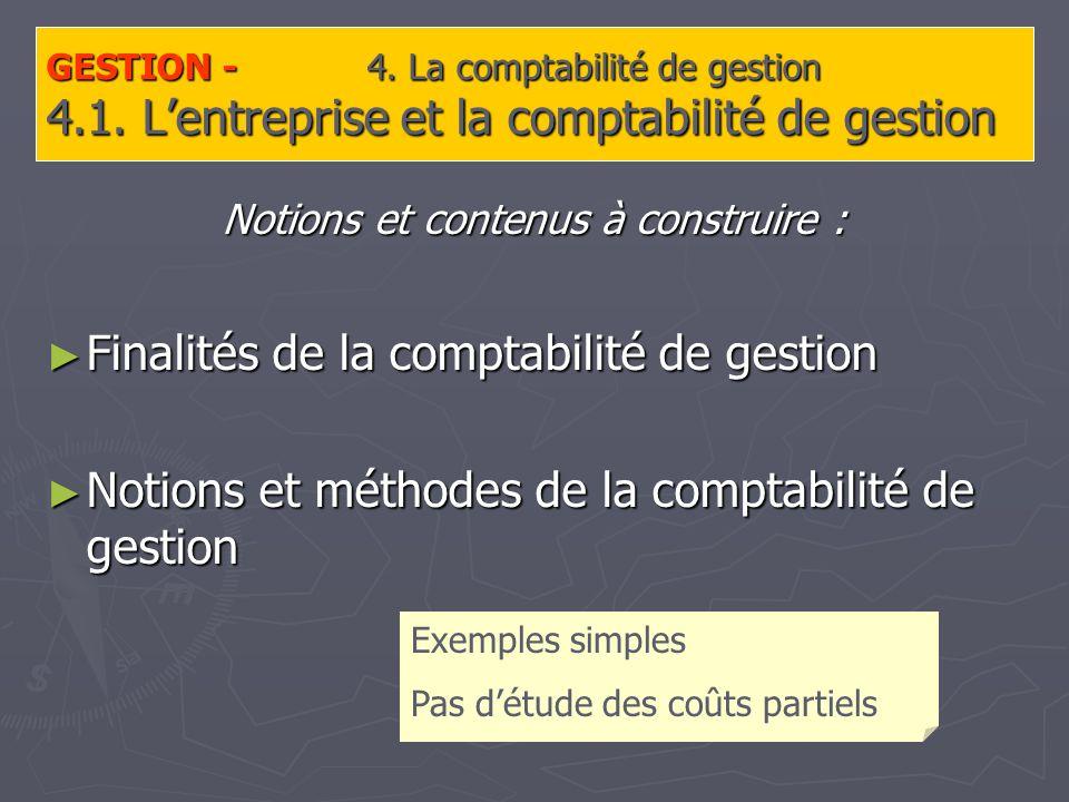 GESTION - 4. La comptabilité de gestion 4.1.