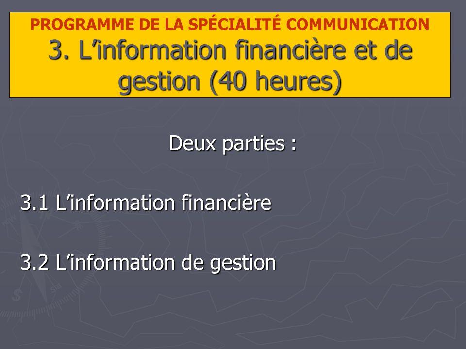 3. Linformation financière et de gestion (40 heures) PROGRAMME DE LA SPÉCIALITÉ COMMUNICATION 3.