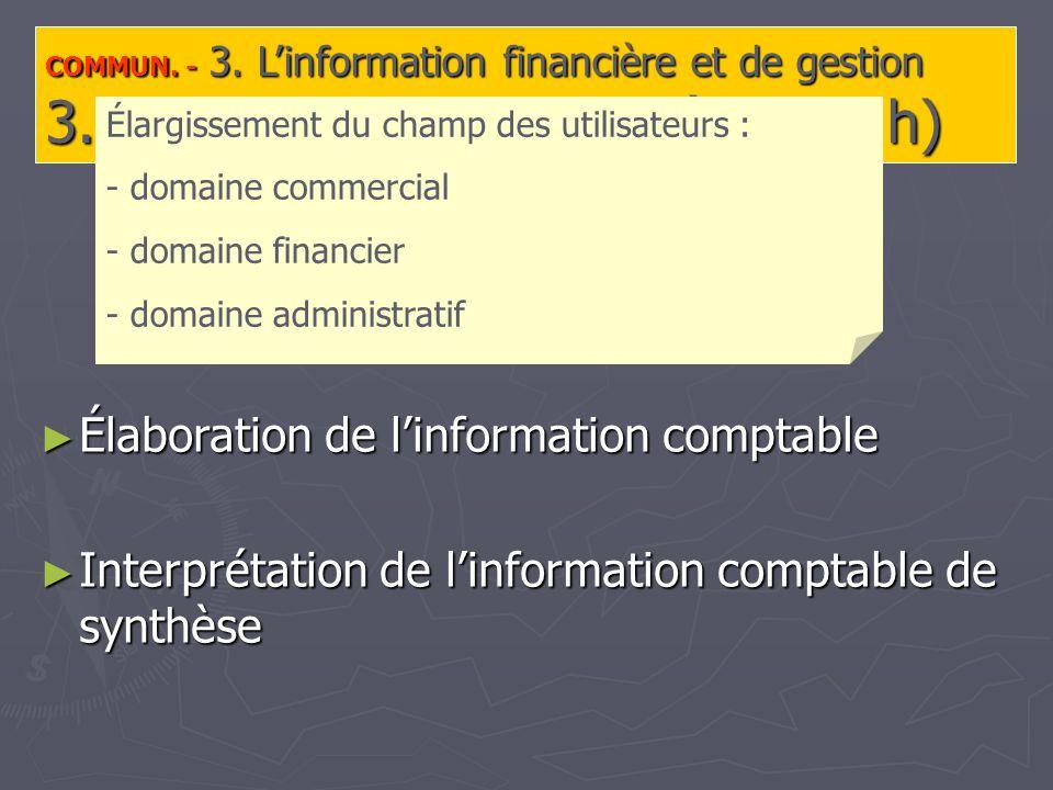 COMMUN. - 3. Linformation financière et de gestion 3.1.