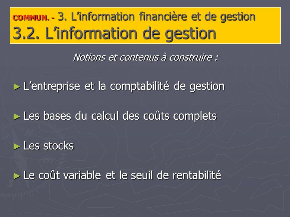 COMMUN. - 3. Linformation financière et de gestion 3.2.