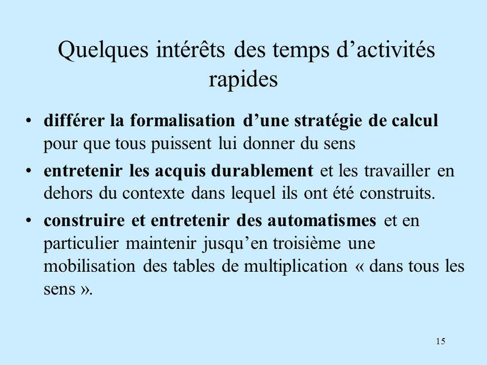 15 différer la formalisation dune stratégie de calcul pour que tous puissent lui donner du sens entretenir les acquis durablement et les travailler en dehors du contexte dans lequel ils ont été construits.