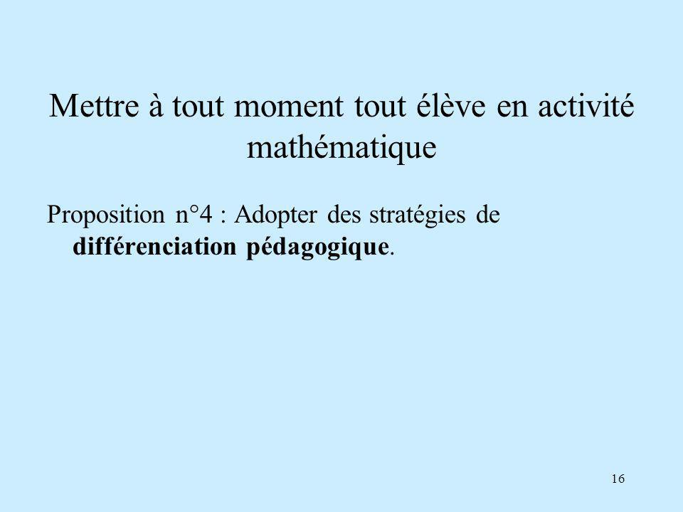 16 Mettre à tout moment tout élève en activité mathématique Proposition n°4 : Adopter des stratégies de différenciation pédagogique.