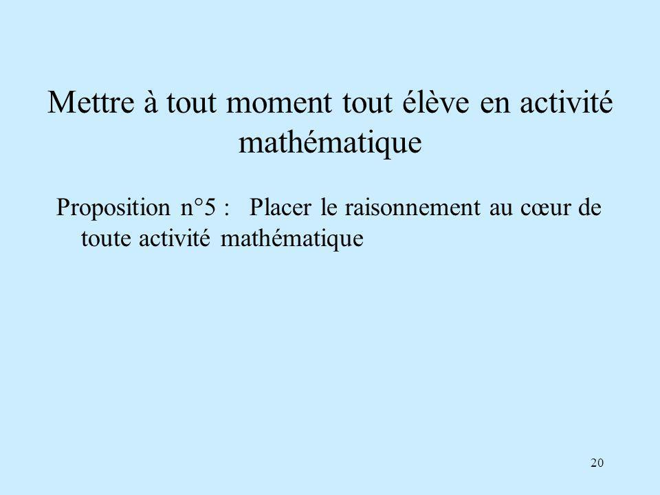 20 Mettre à tout moment tout élève en activité mathématique Proposition n°5 : Placer le raisonnement au cœur de toute activité mathématique