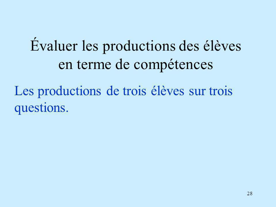 28 Évaluer les productions des élèves en terme de compétences Les productions de trois élèves sur trois questions.