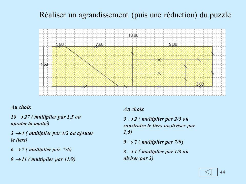 44 Réaliser un agrandissement (puis une réduction) du puzzle Au choix 18 27 ( multiplier par 1,5 ou ajouter la moitié) 3 4 ( multiplier par 4/3 ou ajouter le tiers) 6 7 ( multiplier par 7/6) 9 11 ( multiplier par 11/9) Au choix 3 2 ( multiplier par 2/3 ou soustraire le tiers ou diviser par 1,5) 9 7 ( multiplier par 7/9) 3 1 ( multiplier par 1/3 ou diviser par 3)