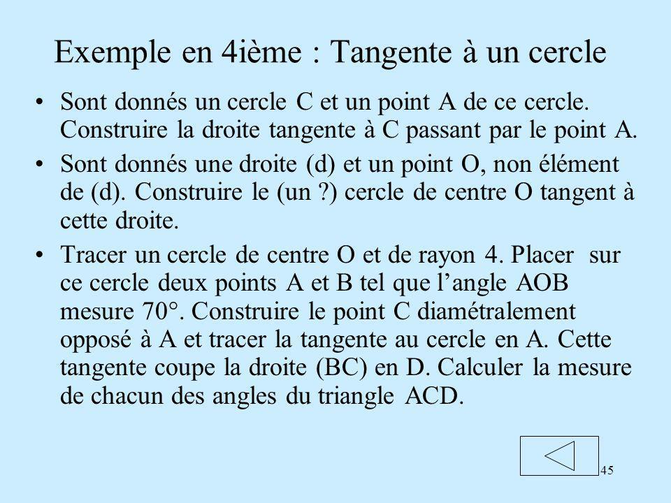 45 Exemple en 4ième : Tangente à un cercle Sont donnés un cercle C et un point A de ce cercle.