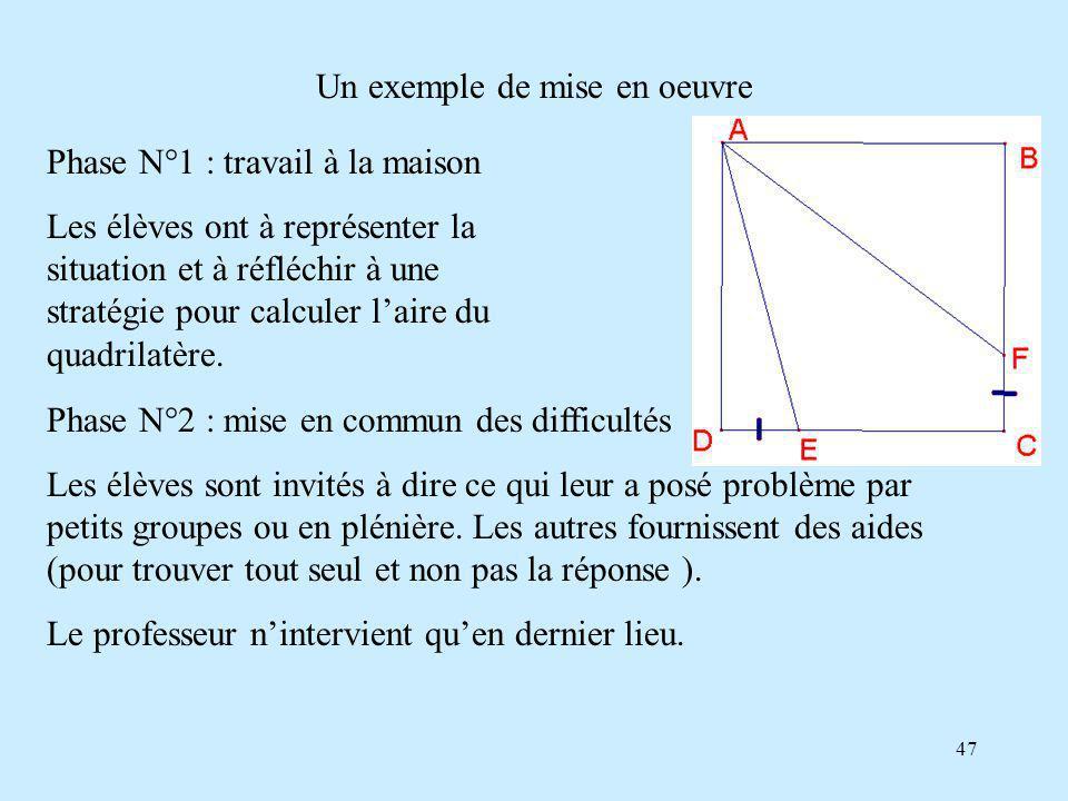 47 Un exemple de mise en oeuvre Phase N°1 : travail à la maison Les élèves ont à représenter la situation et à réfléchir à une stratégie pour calculer laire du quadrilatère.