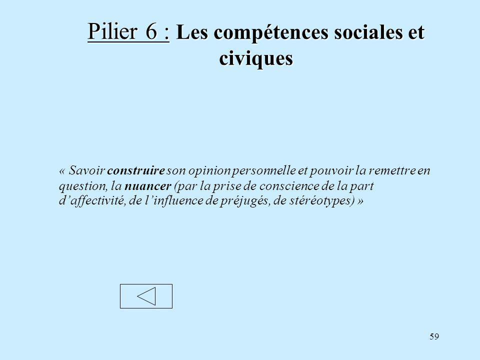 59 Pilier 6 : Les compétences sociales et civiques « Savoir construire son opinion personnelle et pouvoir la remettre en question, la nuancer (par la prise de conscience de la part daffectivité, de linfluence de préjugés, de stéréotypes) »