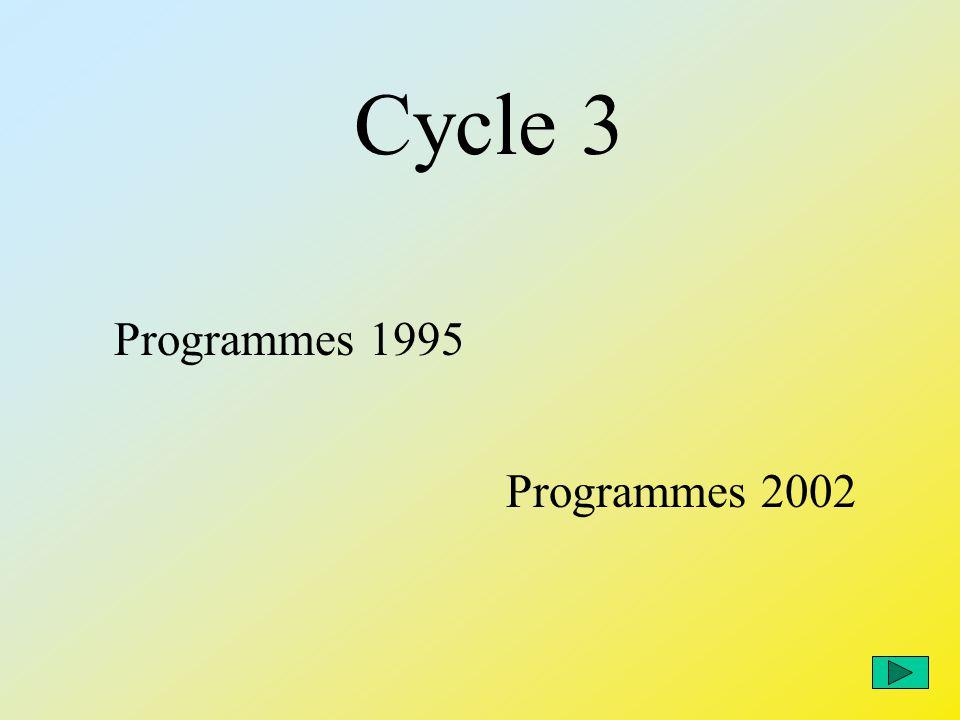 Programmes de 1995 Programmes de 2002 Français et langue vivante Langue française, éducation littéraire et humaine 9 heures De 11 heures à 13 h 30 Cycle 3