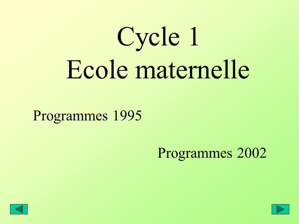 Cycle 1 Ecole maternelle Programmes 1995 Programmes 2002