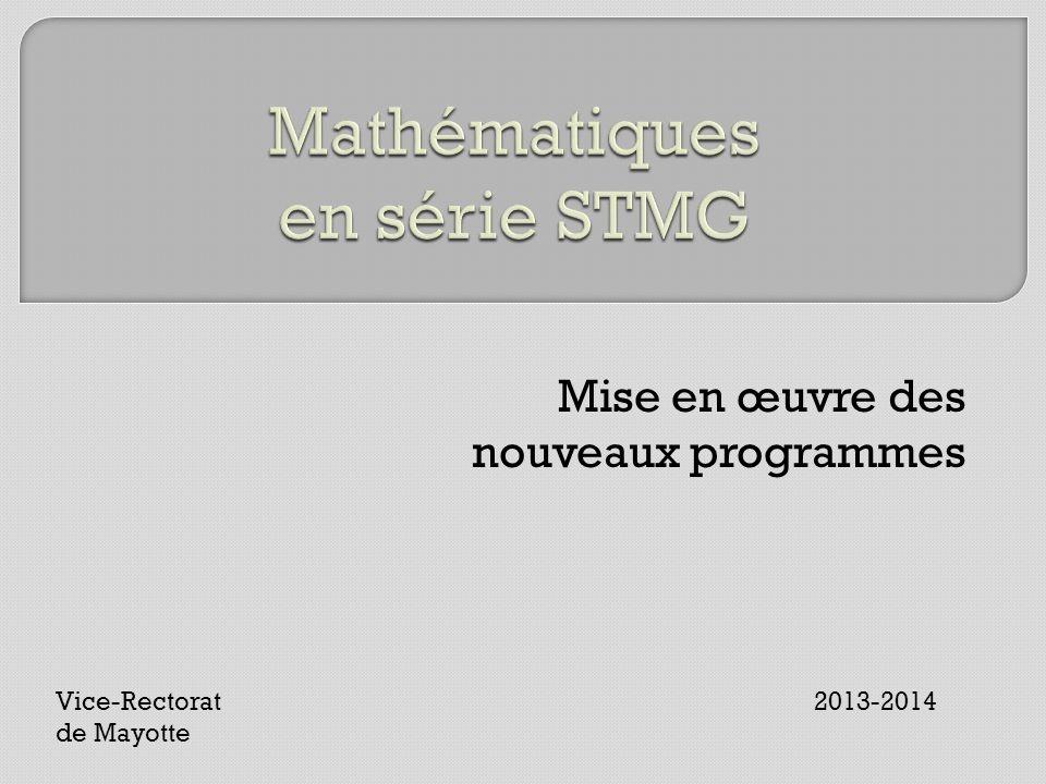 Mise en œuvre des nouveaux programmes Vice-Rectorat 2013-2014 de Mayotte