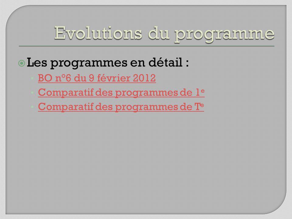 Les programmes en détail : BO n°6 du 9 février 2012 Comparatif des programmes de 1 e Comparatif des programmes de 1 e Comparatif des programmes de T e Comparatif des programmes de T e
