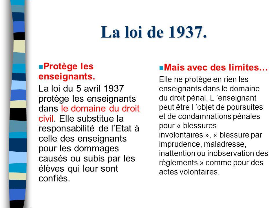 La loi de 1937. n Protège les enseignants.