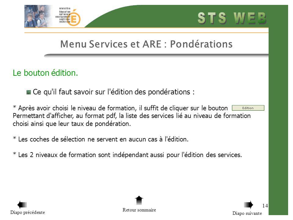 14 Menu Services et ARE : Pondérations Le bouton édition.