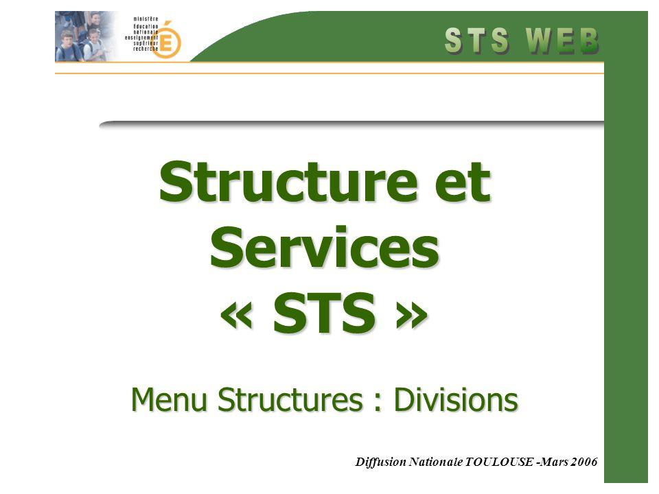 Menu Structure : Divisions Diffusion Nationale TOULOUSE -Mars 2006 Structure et Services « STS » Menu Structures : Divisions