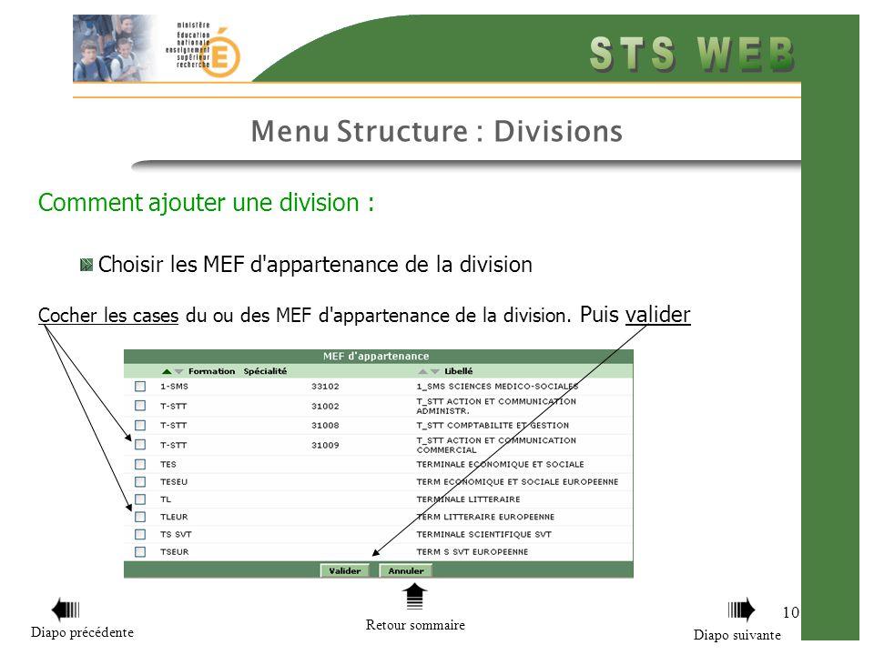 Menu Structure : Divisions 10 Comment ajouter une division : Choisir les MEF d'appartenance de la division Cocher les cases du ou des MEF d'appartenan
