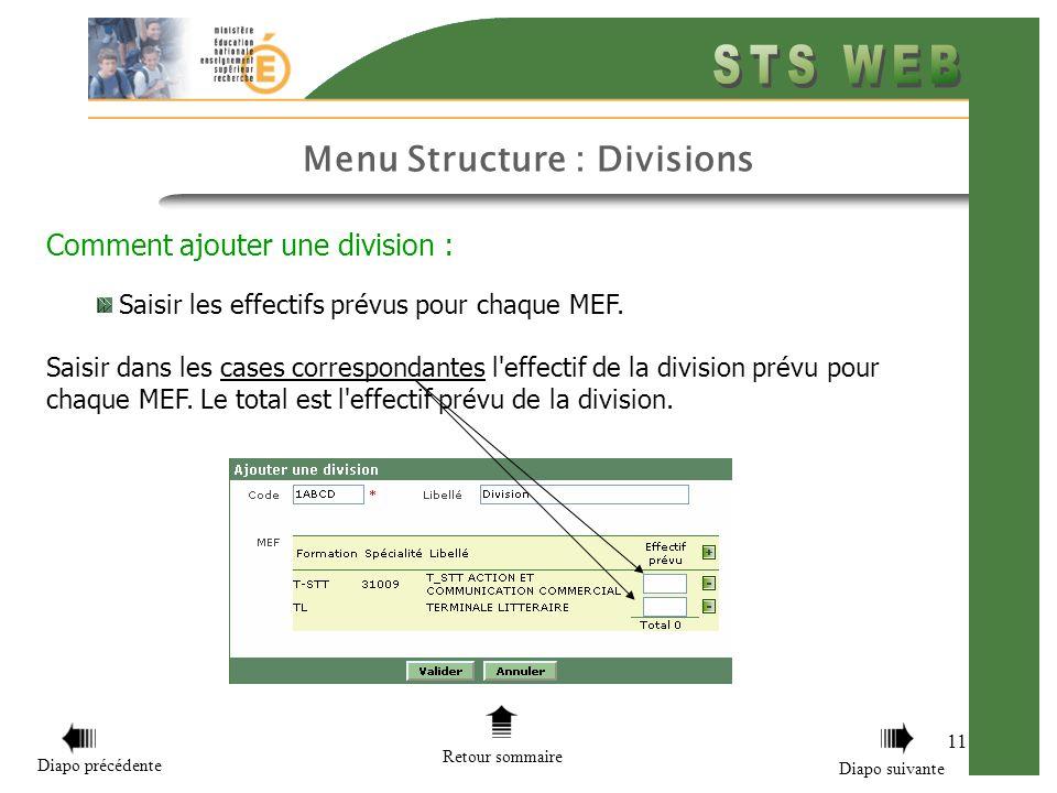 Menu Structure : Divisions 11 Comment ajouter une division : Saisir les effectifs prévus pour chaque MEF. Saisir dans les cases correspondantes l'effe