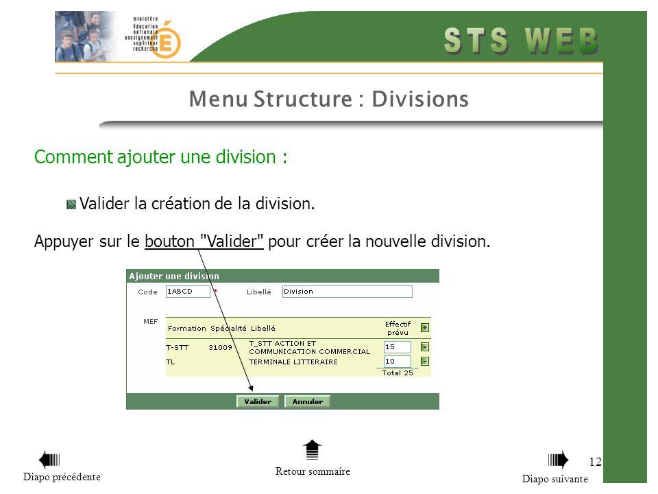 Menu Structure : Divisions 12 Comment ajouter une division : Valider la création de la division. Appuyer sur le bouton