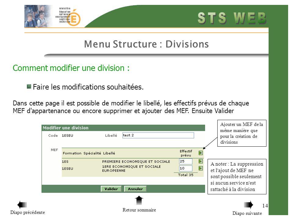 Menu Structure : Divisions 14 Comment modifier une division : Faire les modifications souhaitées. Dans cette page il est possible de modifier le libel