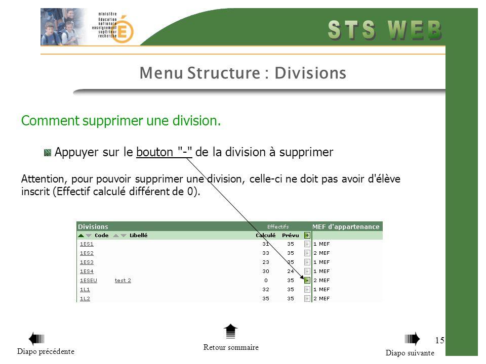 Menu Structure : Divisions 15 Comment supprimer une division. Appuyer sur le bouton