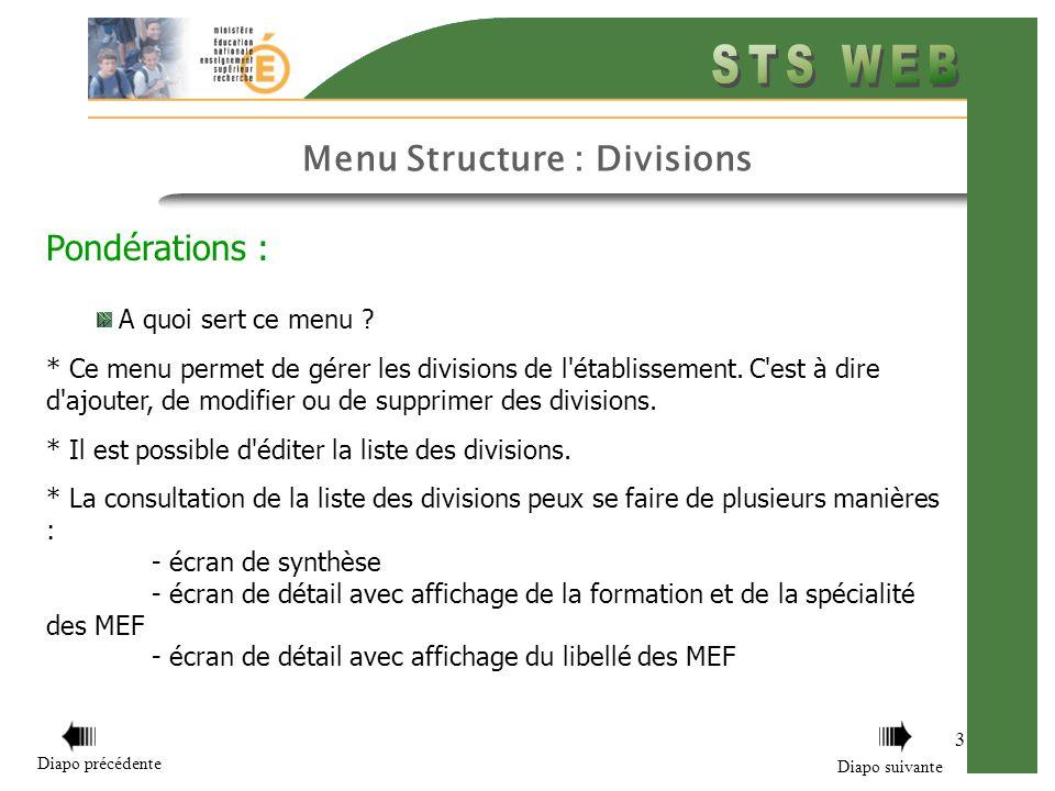 Menu Structure : Divisions 3 Pondérations : A quoi sert ce menu ? * Ce menu permet de gérer les divisions de l'établissement. C'est à dire d'ajouter,