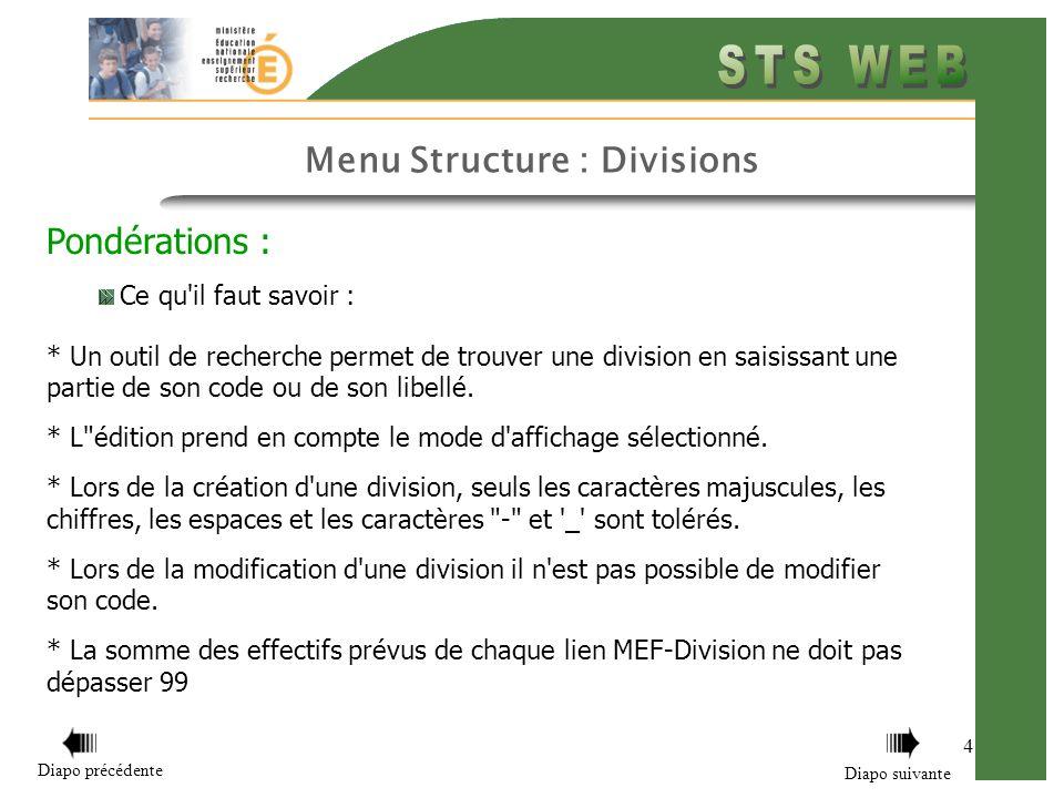 Menu Structure : Divisions 4 Pondérations : Ce qu'il faut savoir : * Un outil de recherche permet de trouver une division en saisissant une partie de