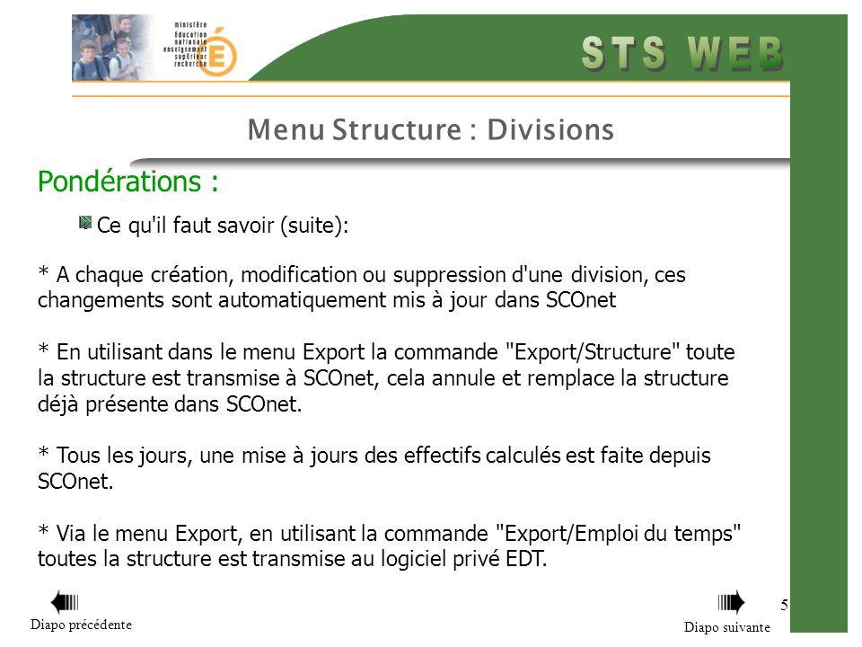 Menu Structure : Divisions 16 Comment fonctionnent les modes d affichage et l édition Ce qu il faut savoir sur l édition des pondérations : * Retour sommaire Diapo précédente Diapo suivante