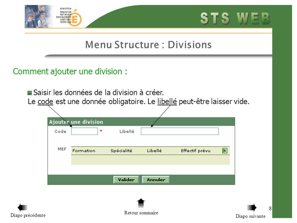 Menu Structure : Divisions 8 Comment ajouter une division : Saisir les données de la division à créer. Le code est une donnée obligatoire. Le libellé