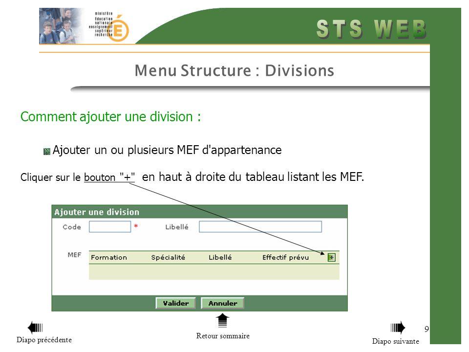 Menu Structure : Divisions 9 Comment ajouter une division : Ajouter un ou plusieurs MEF d'appartenance Cliquer sur le bouton