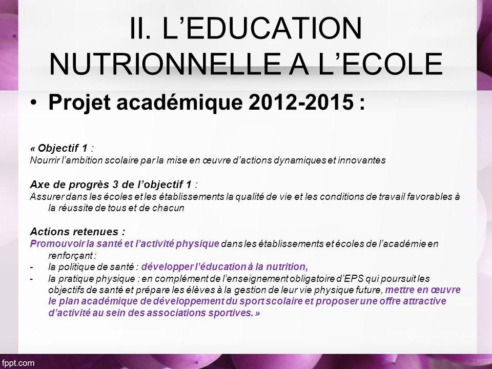 Projet académique 2012-2015 : « Objectif 1 : Nourrir lambition scolaire par la mise en œuvre dactions dynamiques et innovantes Axe de progrès 3 de lob