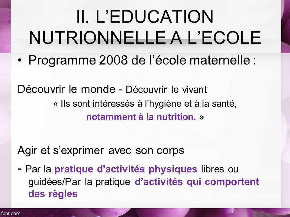Programme 2008 de lécole maternelle : Découvrir le monde - Découvrir le vivant « Ils sont intéressés à lhygiène et à la santé, notamment à la nutrition.