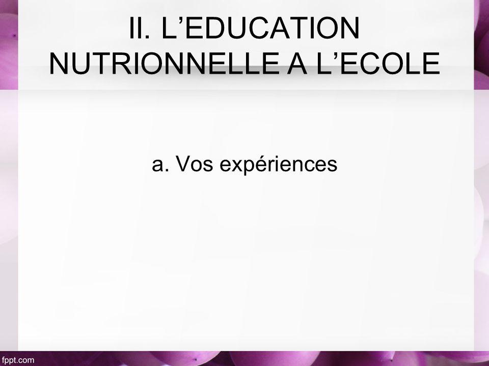a. Vos expériences II. LEDUCATION NUTRIONNELLE A LECOLE