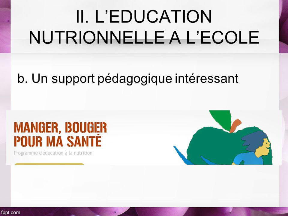 b. Un support pédagogique intéressant II. LEDUCATION NUTRIONNELLE A LECOLE