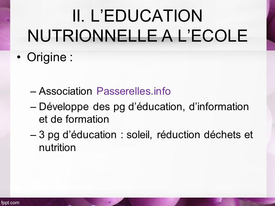 Origine : –Association Passerelles.info –Développe des pg déducation, dinformation et de formation –3 pg déducation : soleil, réduction déchets et nutrition