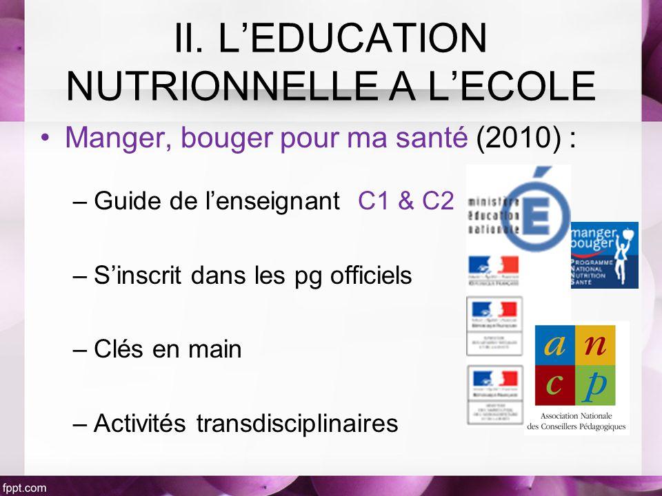Manger, bouger pour ma santé (2010) : –Guide de lenseignant C1 & C2 –Sinscrit dans les pg officiels –Clés en main –Activités transdisciplinaires II.