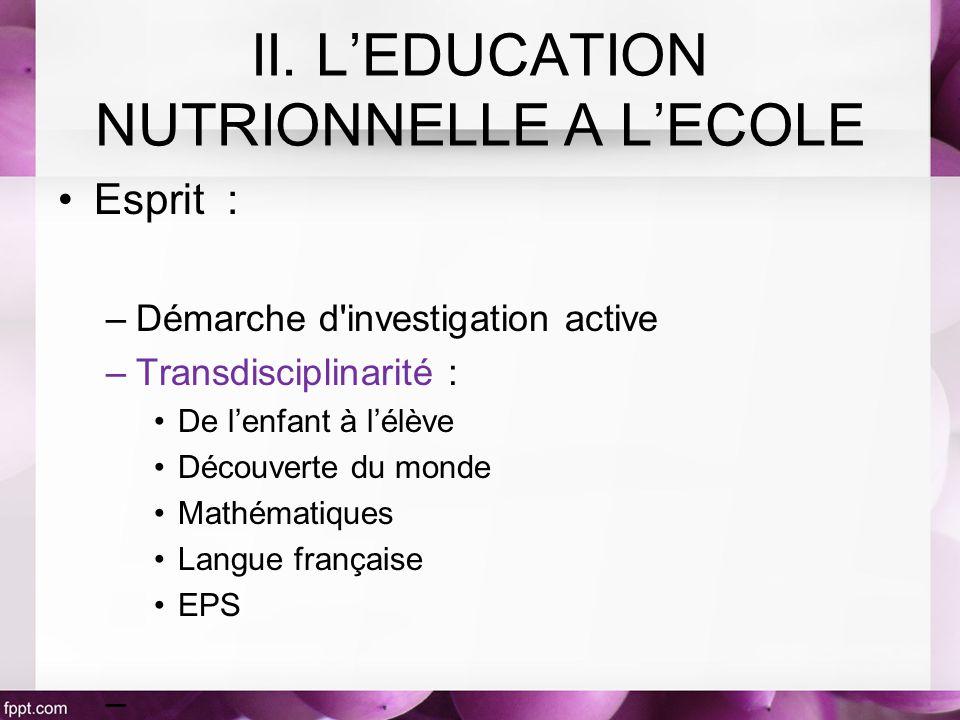 Esprit : –Démarche d'investigation active –Transdisciplinarité : De lenfant à lélève Découverte du monde Mathématiques Langue française EPS – II. LEDU