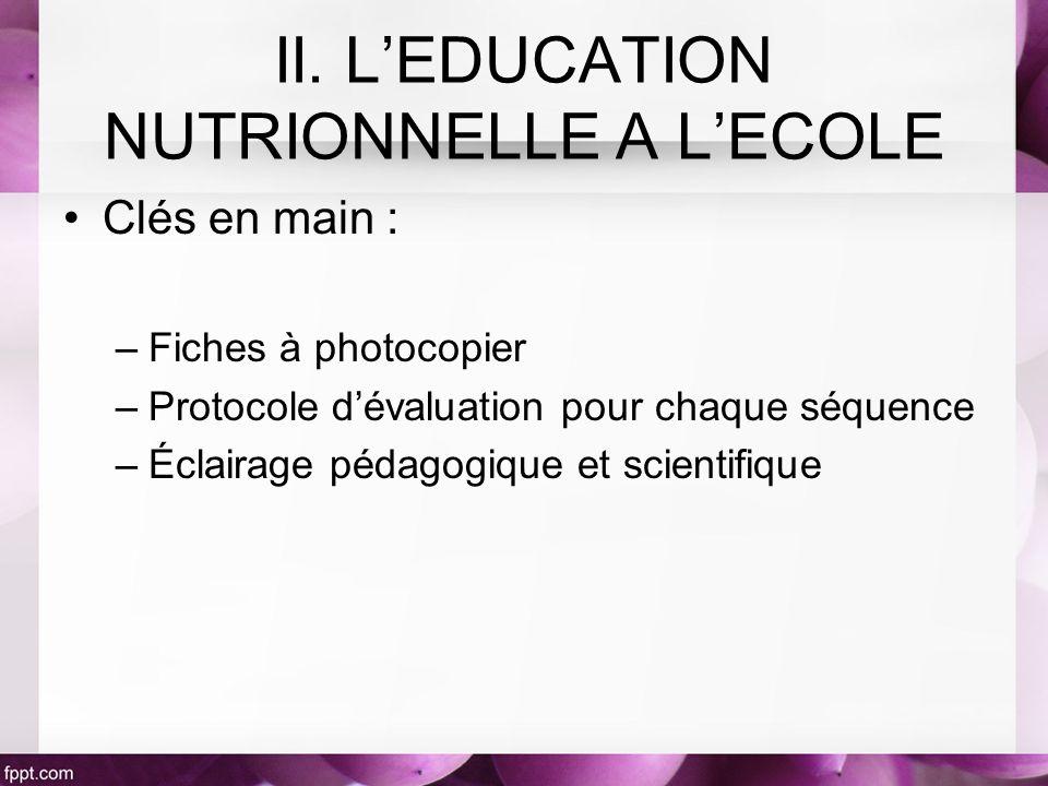 Clés en main : –Fiches à photocopier –Protocole dévaluation pour chaque séquence –Éclairage pédagogique et scientifique II. LEDUCATION NUTRIONNELLE A
