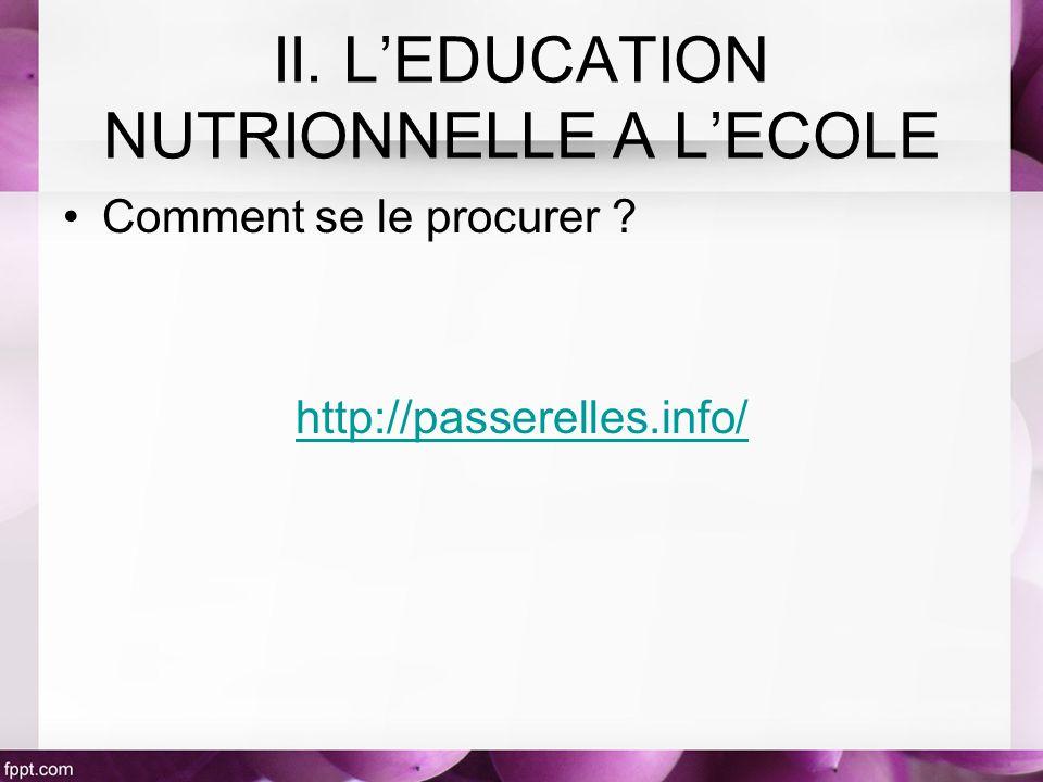 Comment se le procurer ? http://passerelles.info/ II. LEDUCATION NUTRIONNELLE A LECOLE