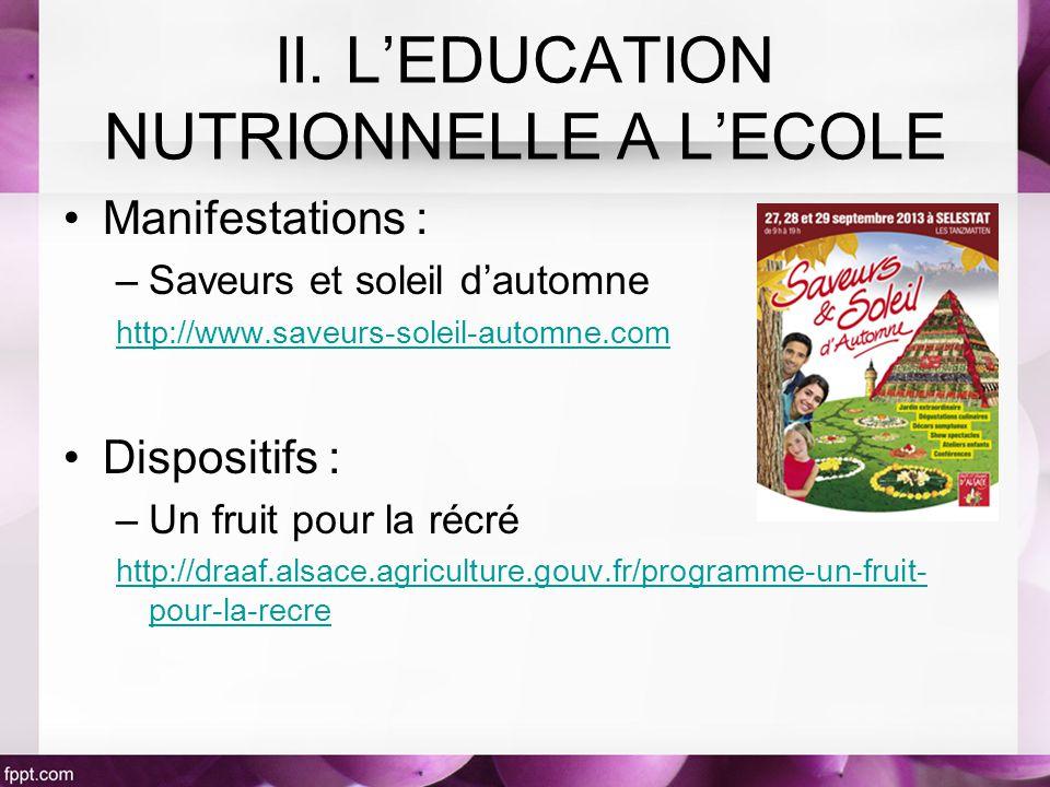 Manifestations : –Saveurs et soleil dautomne http://www.saveurs-soleil-automne.com Dispositifs : –Un fruit pour la récré http://draaf.alsace.agriculture.gouv.fr/programme-un-fruit- pour-la-recre II.
