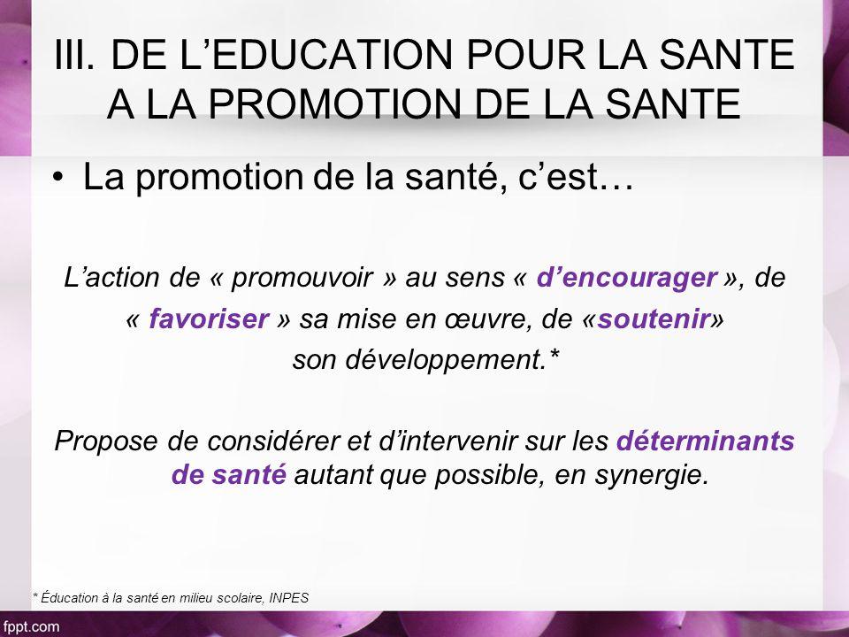 La promotion de la santé, cest… Laction de « promouvoir » au sens « dencourager », de « favoriser » sa mise en œuvre, de «soutenir» son développement.