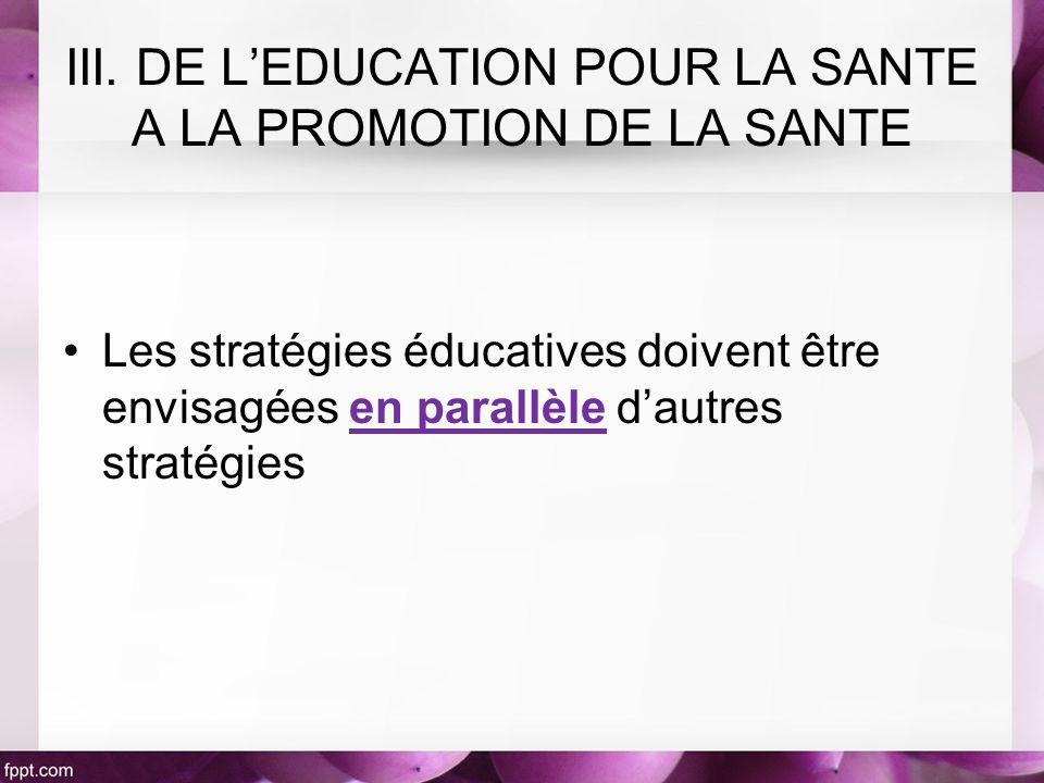 Les stratégies éducatives doivent être envisagées en parallèle dautres stratégies III. DE LEDUCATION POUR LA SANTE A LA PROMOTION DE LA SANTE
