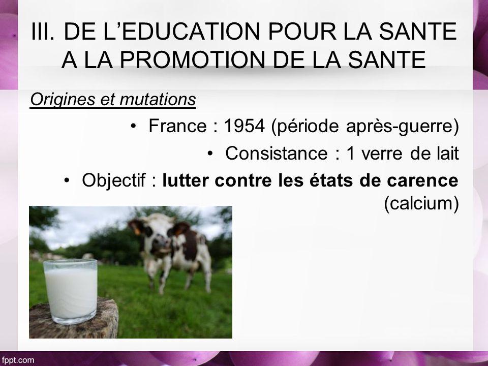 Origines et mutations France : 1954 (période après-guerre) Consistance : 1 verre de lait Objectif : lutter contre les états de carence (calcium)