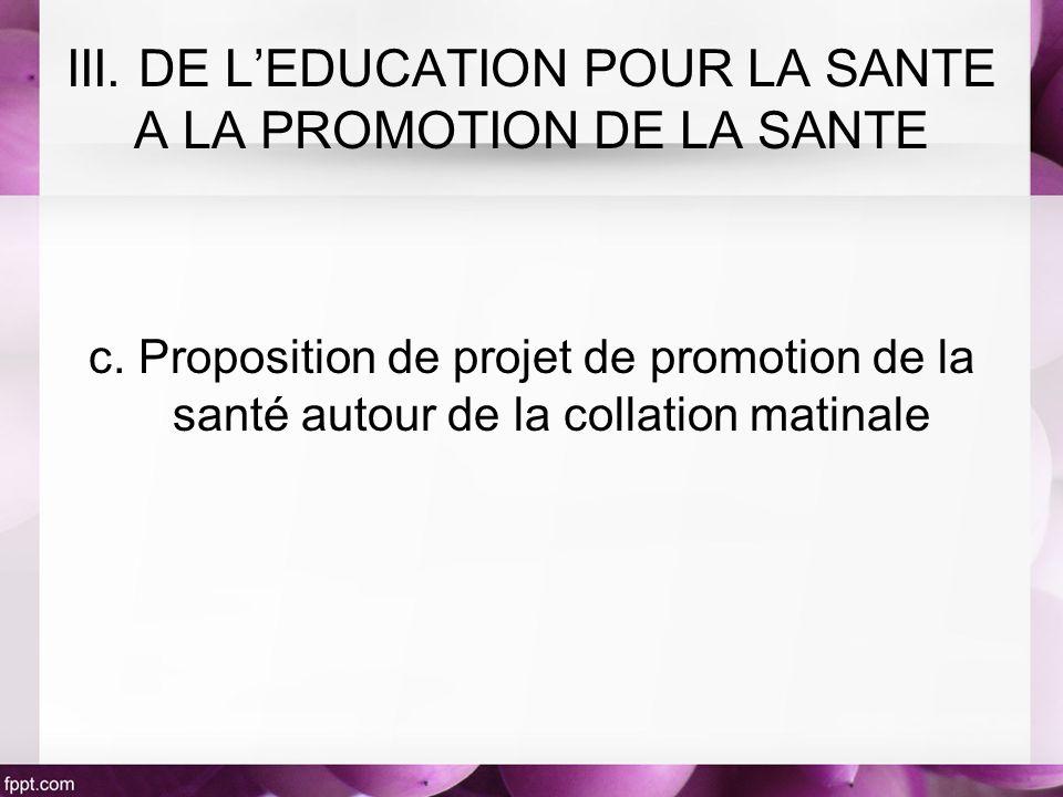 c. Proposition de projet de promotion de la santé autour de la collation matinale III. DE LEDUCATION POUR LA SANTE A LA PROMOTION DE LA SANTE