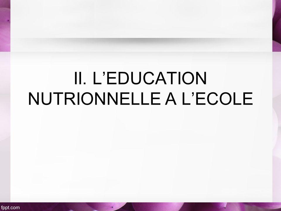 II. LEDUCATION NUTRIONNELLE A LECOLE