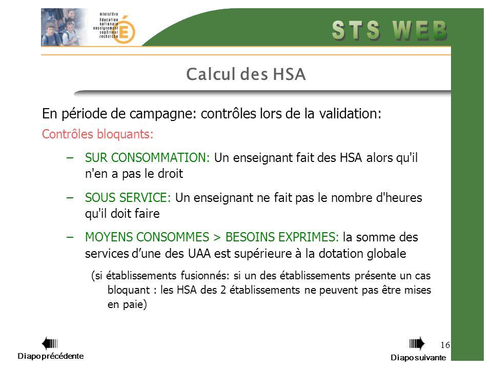 Diapo précédente Diapo suivante 16 Calcul des HSA En période de campagne: contrôles lors de la validation: Contrôles bloquants: –SUR CONSOMMATION: Un enseignant fait des HSA alors qu il n en a pas le droit –SOUS SERVICE: Un enseignant ne fait pas le nombre d heures qu il doit faire –MOYENS CONSOMMES > BESOINS EXPRIMES: la somme des services dune des UAA est supérieure à la dotation globale (si établissements fusionnés: si un des établissements présente un cas bloquant : les HSA des 2 établissements ne peuvent pas être mises en paie)